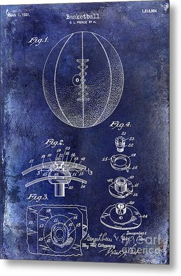 1927 Basketball Patent Drawing Blue Metal Print by Jon Neidert