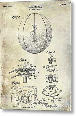 1927 Basketball Patent Drawing Metal Print by Jon Neidert