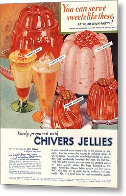 1930s Uk Chivers Jelly Desserts Metal Print by The Advertising Archives