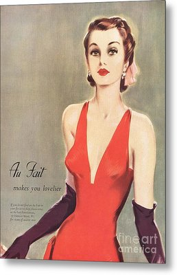 1940s Uk Au Fait Womens Dresses Gloves Metal Print by The Advertising Archives