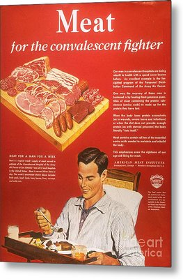 1940s Usa Convalescents Meat Eating Metal Print by The Advertising Archives