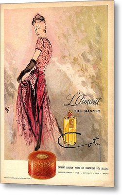 1940s Usa Coty   Laimant Womens Metal Print by The Advertising Archives