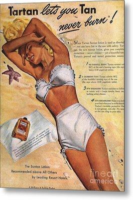 1940s Usa Tartan Suntans Sunbathing Metal Print by The Advertising Archives