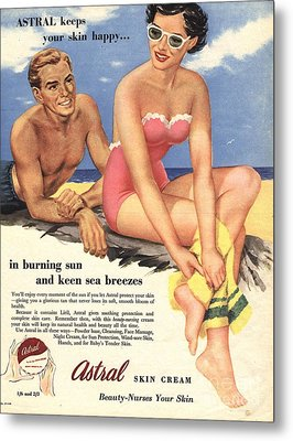 1950s Uk Sun Creams Lotions Tan Metal Print by The Advertising Archives