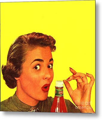 1950s Usa Catsup Tomato Sauce Lids Mrs Metal Print by The Advertising Archives
