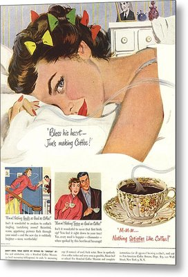 1950s Usa Sleep Sleeping Coffee Smell Metal Print by The Advertising Archives