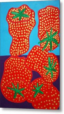 5 Big Strawberries Metal Print by Matthew Brzostoski