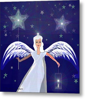 806 -  Christmas Angel  With  Lantern  Metal Print by Irmgard Schoendorf Welch
