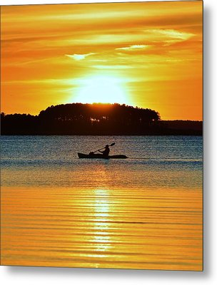 A Reason To Kayak - Summer Sunset Metal Print by William Bartholomew