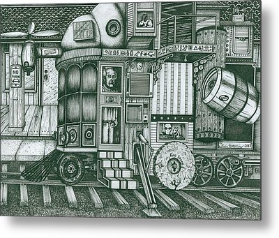 Metal Print featuring the drawing   A Traveling Cabinets Of Curiosities by Richie Montgomery