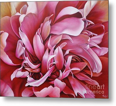 Metal Print featuring the painting  Abstract Peony by Paula L