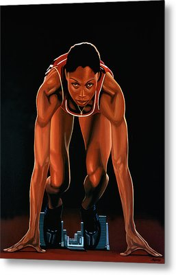Allyson Felix Painting  Metal Print by Paul Meijering