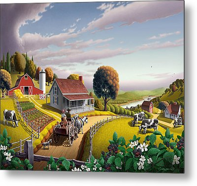 Appalachian Blackberry Patch Rustic Country Farm Folk Art Landscape - Rural Americana - Peaceful Metal Print by Walt Curlee