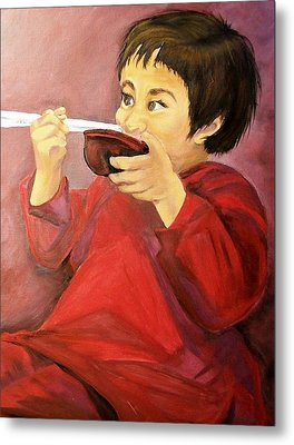 Metal Print featuring the painting  Asian  Doll by Sharon Duguay