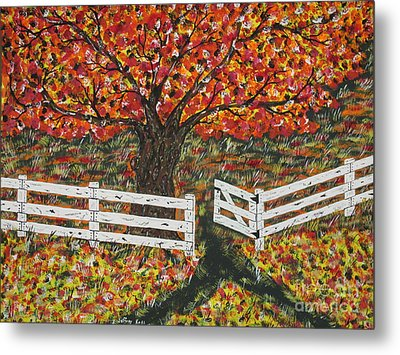 Autumn At The White Fence Farm Metal Print by Jeffrey Koss