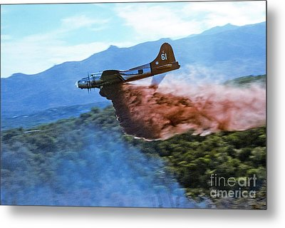 B-17 Air Tanker Dropping Fire Retardant Metal Print by Bill Gabbert
