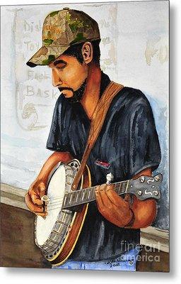 Banjo Player Metal Print by John W Walker