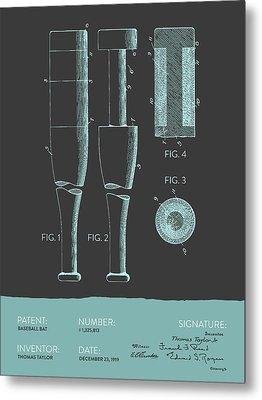 Baseball Bat Patent From 1919 - Gray Blue Metal Print