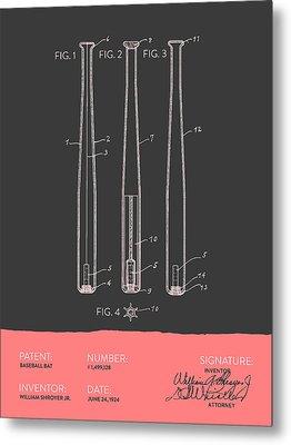 Baseball Bat Patent From 1924 - Gray Salmon Metal Print