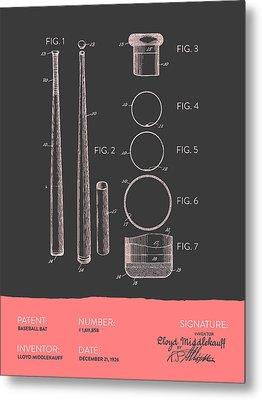 Baseball Bat Patent From 1926 - Gray Salmon Metal Print by Aged Pixel