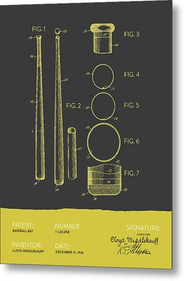 Baseball Bat Patent From 1926 - Gray Yellow Metal Print by Aged Pixel