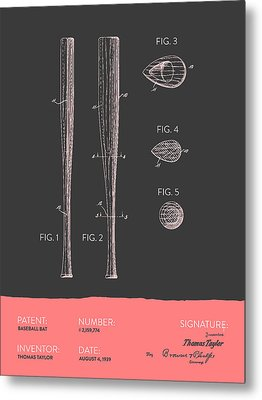 Baseball Bat Patent From 1939 - Gray Salmon Metal Print