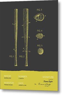 Baseball Bat Patent From 1939 - Gray Yellow Metal Print by Aged Pixel