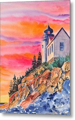 Bass Harbor Light Sunset Metal Print