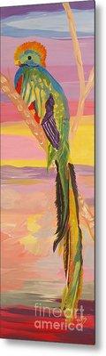 Beautiful Bird Quetzal Must Open  Metal Print by Phyllis Kaltenbach