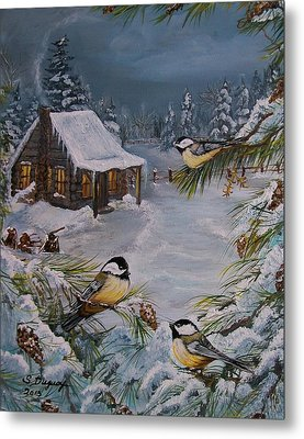Black Capped   Chickadee's  Metal Print