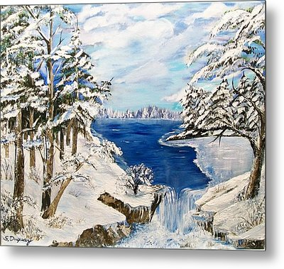 Metal Print featuring the painting  Blanket Of Ice by Sharon Duguay