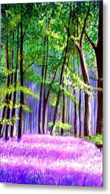 Bluebells Wood  Metal Print by Marie-Line Vasseur