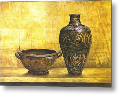 Bowl And Flower Pot Canvas Prints Metal Print by Canvas Champ