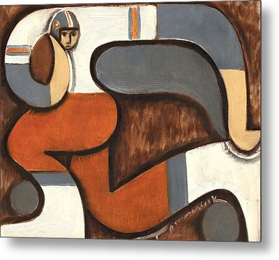 Broncos Abstract Football Player Metal Print by Tommervik