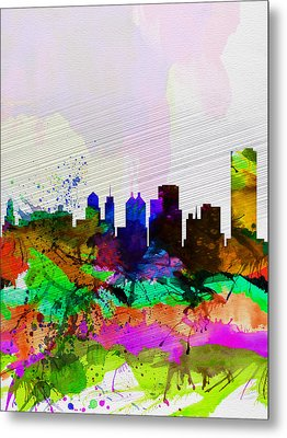 Buffalo Watercolor Skyline Metal Print by Naxart Studio
