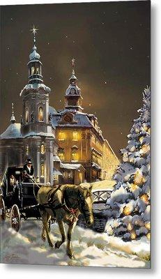 Buggy And Horse At Christmasn The Ukraine Metal Print by Regina Femrite