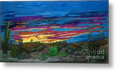 Metal Print featuring the painting  California Desert Sunset by Gary Brandes