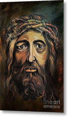 Christ With Thorn Crown. Metal Print by Andrzej Szczerski