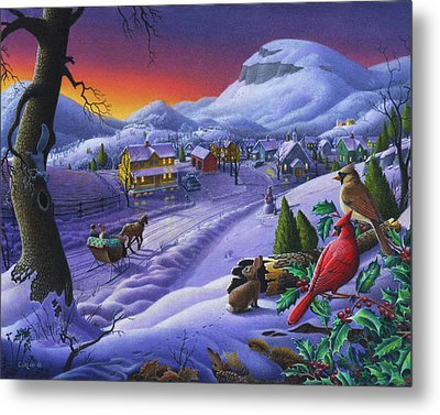 Christmas Sleigh Ride Winter Landscape Oil Painting - Cardinals Country Farm - Small Town Folk Art Metal Print