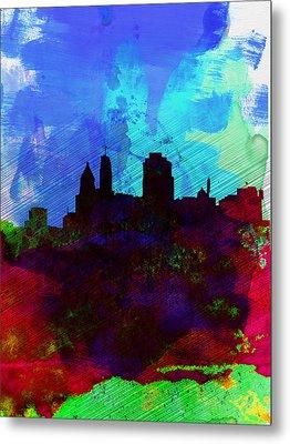 Cincinnati Watercolor Skyline Metal Print by Naxart Studio