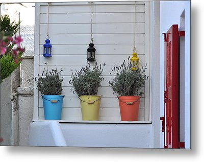 Colored Pails Metal Print by Kathy Schumann