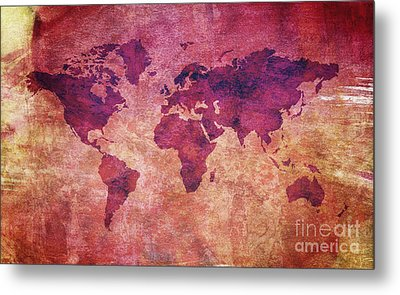 Metal Print featuring the digital art  Colorful World Map by Mohamed Elkhamisy