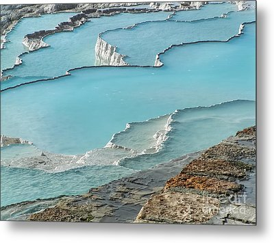 Cotton Castle Surrounded By Azure Pools Metal Print by Alexandra Jordankova