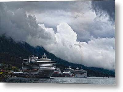Metal Print featuring the photograph  Cruise Ships At The Dock. by Timothy Latta