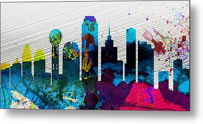 Dallas City Skyline Metal Print by Naxart Studio