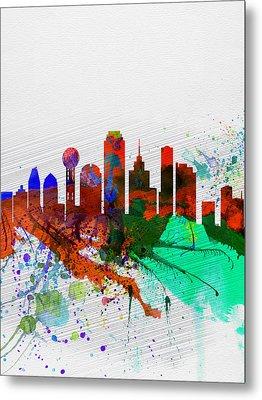 Dallas Watercolor Skyline Metal Print by Naxart Studio