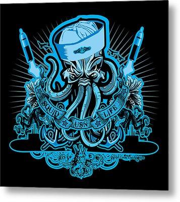 Dcla Skull Us Navy Squid Sub Art Metal Print