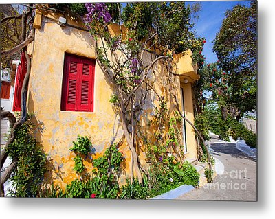 Decorated House With Plants Metal Print by Aiolos Greek Collections