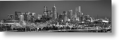 Metal Print featuring the photograph  Denver Skyline At Dusk Black And White Bw Evening Extra Wide Panorama Broncos  by Jon Holiday