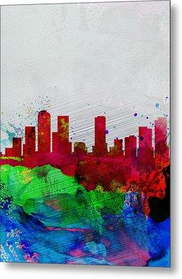 Denver Watercolor Skyline Metal Print by Naxart Studio